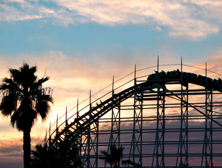 A silhouette of the wooden rollercoaster at Bemont Park in San Diego, CA