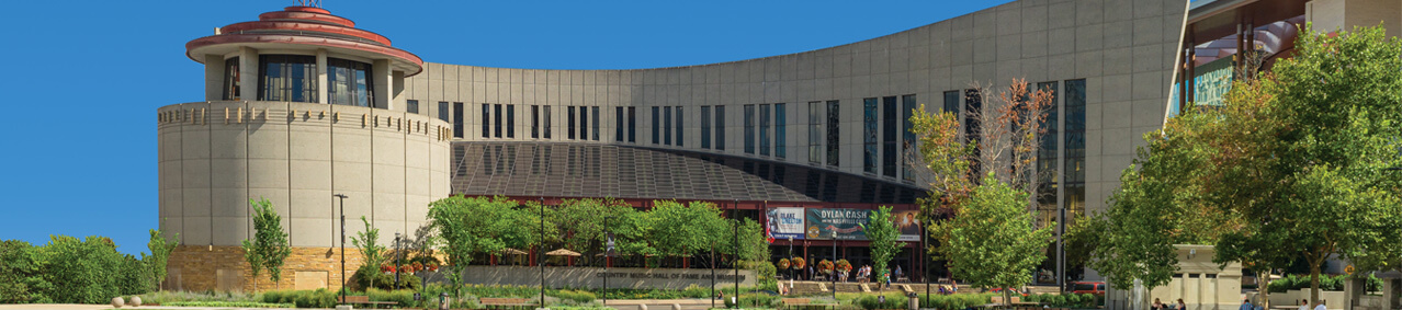 A view of the exterior of the Country Music Hall of Fame meant to emulate a piano keyboard