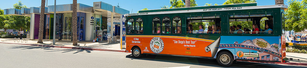 picture of san diego trolley in front of visitor info center