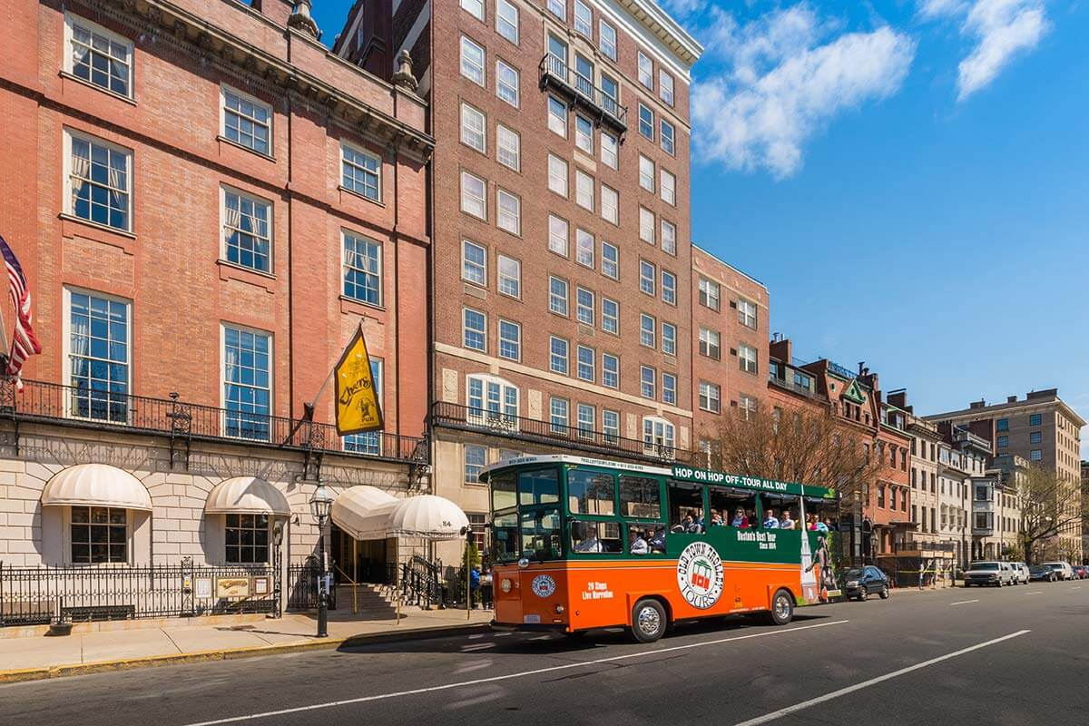 Old Town Trolley outside the famous Cheers bar in Boston, MA