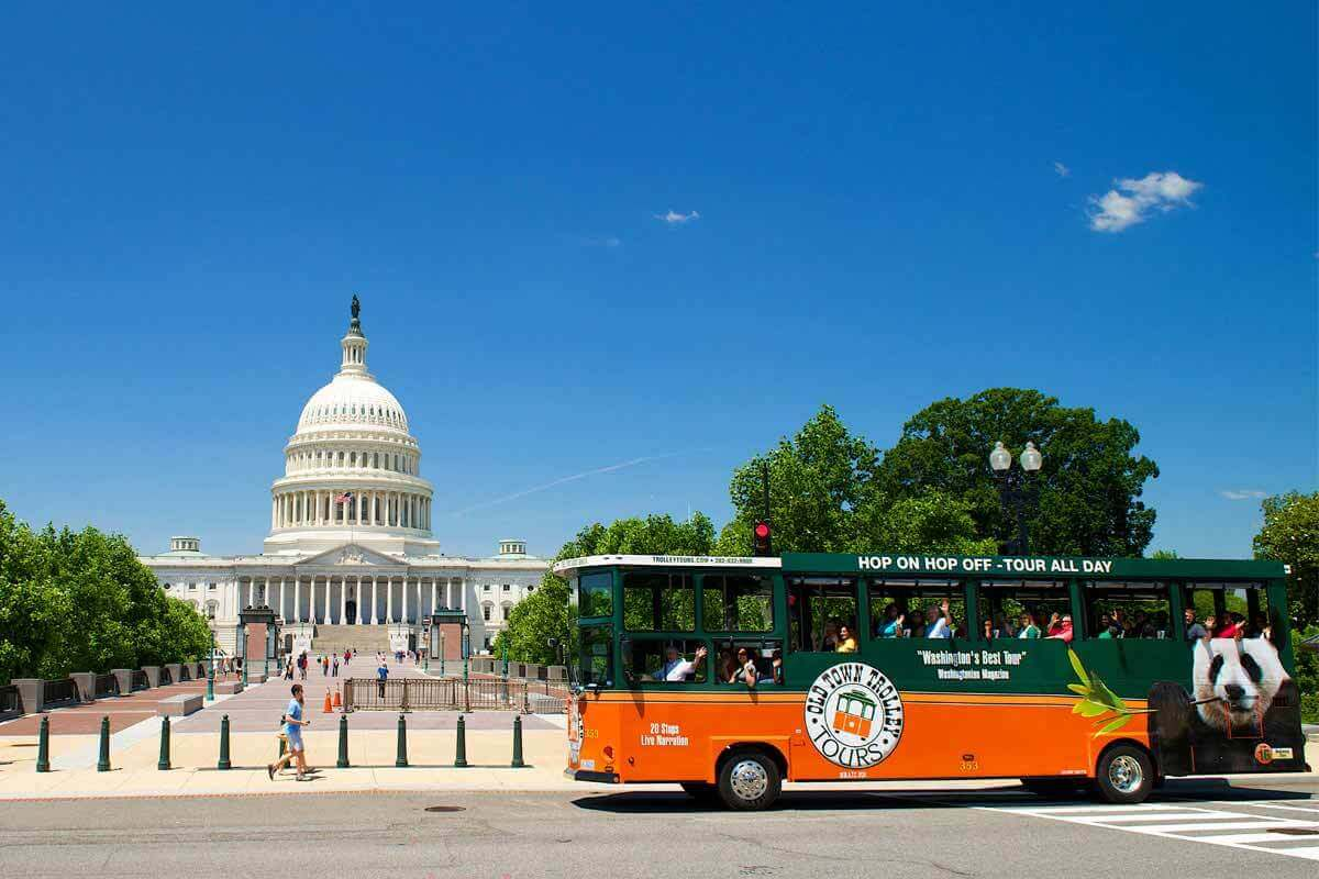 old town trolley tour stop at US capitol