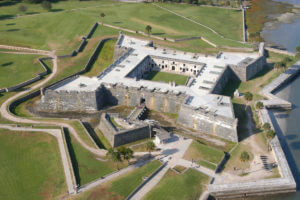 Aerial view of Castillo de San Marcos in St. Augustine, FL