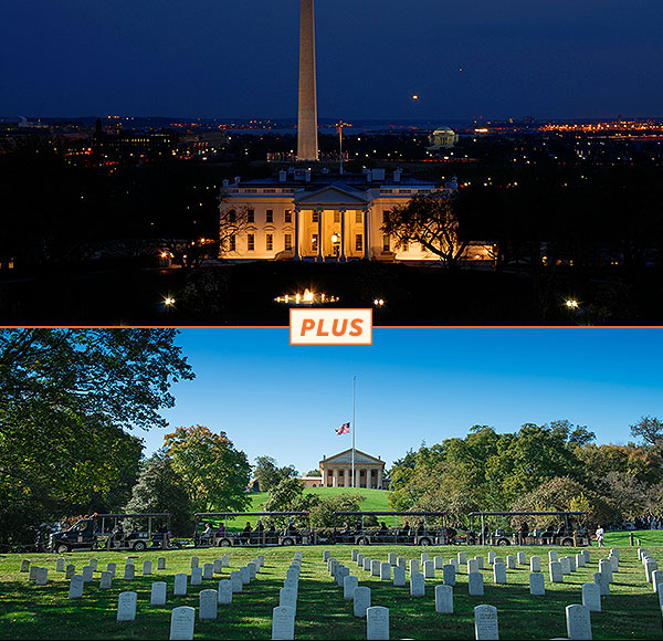 top picture: Washington DC at night with aerial view of illuminated White House and Washington Monument; bottom picture: Arlington Tours vehicle driving past Arlington House in background and grave sites and trees in foreground