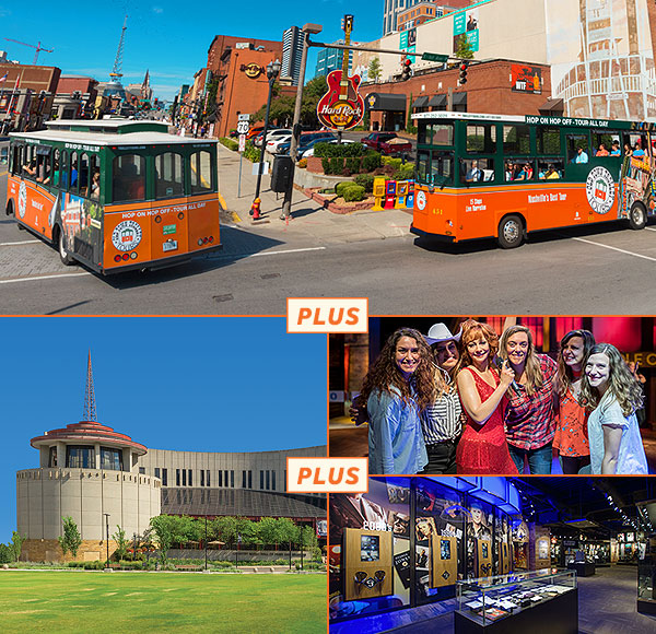 top picture: two nashville trolleys driving past hard rock cafe; bottom left picture: exterior of country music hall of fame; bottom right picture 1: guests posing next to reba mcentire wax figure; bottom right picture 2: george jones museum memorabilia display