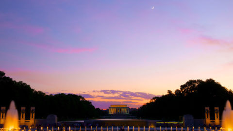 view of lincoln memorial on monuments by moonlight tour