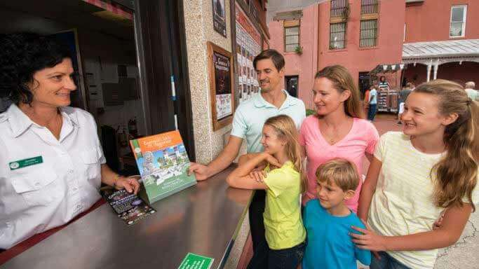 family getting ready for a trip on old town trolley tours