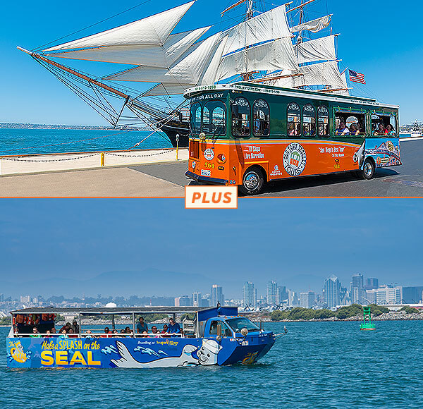 top picture: san diego trolley in front of star of india tall ship; bottom picture: seal tour vehicle on water with city skyline in background