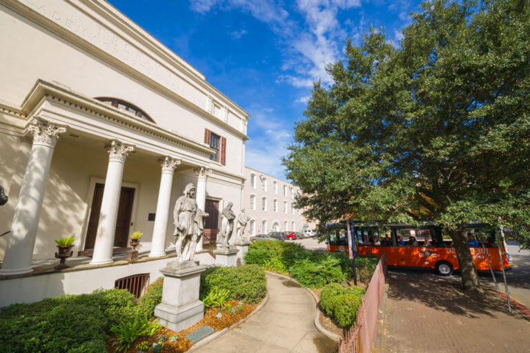 Old Town Trolley tour stop at Telfair Museum of Art