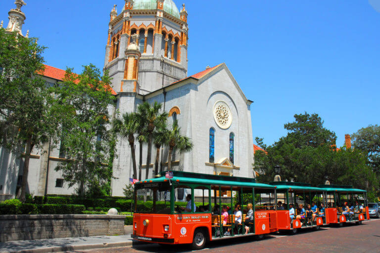 Old Town Trolley tour stop at Flagler Memorial Church