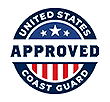 logo with stars and stripes in background and in the foreground, the words 'United States Coast Guard Approved'