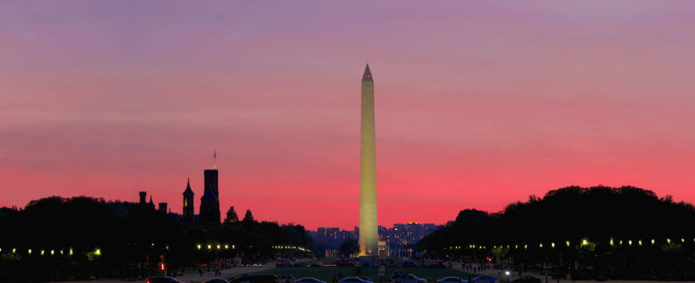 Washington monument at sunset on dc night tour