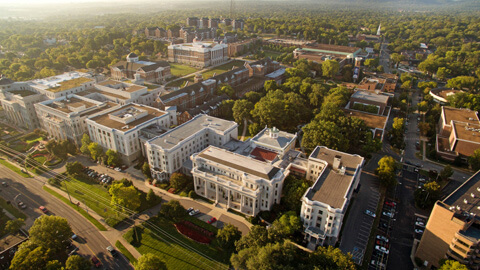 aerial view of Belmont University campus showing various buildings and lots of trees