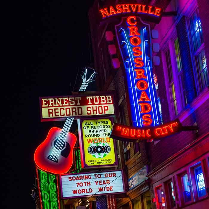 Nashville Crossroads Music City sign