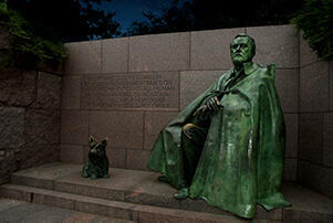 FDR statue at night in Washington DC