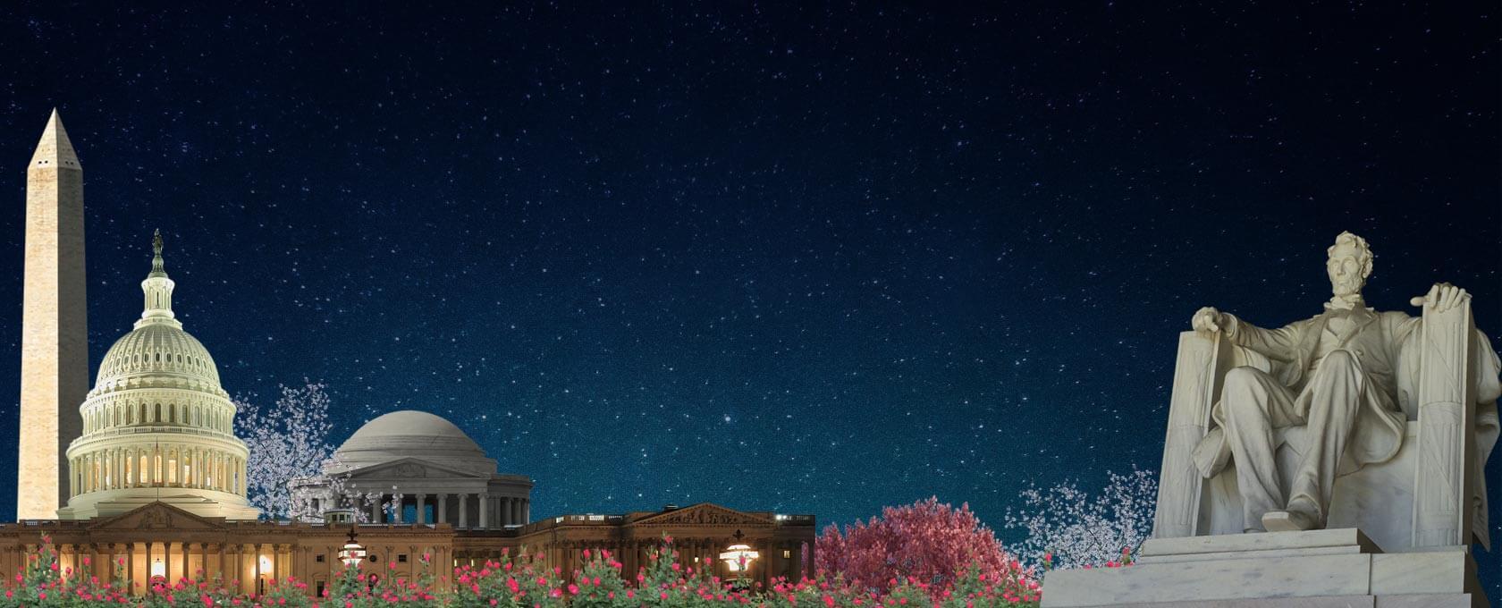 Image of Washington DC monuments at night