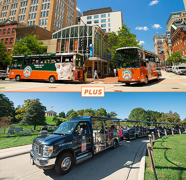 top picture: two trolleys driving past Washington DC welcome center; bottom picture: Arlington Tour vehicle driving past gravesites and Arlington House in background.