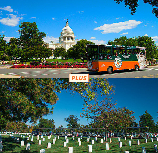 top picture: trolley driving past U.S. Capitol in Washington DC; bottom picture: Arlington National Cemetery gravesites in background and vehicle in background.