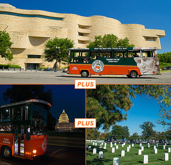 top picture: trolley driving past Museum of American Indian in Washington dc; bottom left picture: trolley driving past US Capitol lit up at night; bottom right picture: Arlington Tours vehicle with gravestones in foreground.