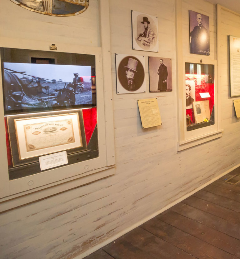 video monitors in Sails to Rails museum