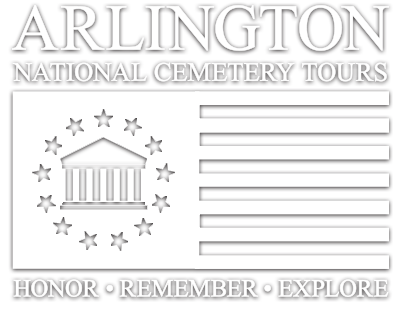logo with a flag featuring stripes on the right and the silhouette of stars and a house on the left; and the words 'Arlington National Cemetery Tours, Honor, Remember, Explore'
