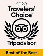 Logo that reads '2020 Travelers' Choice Tripadvisor Best of the Best'