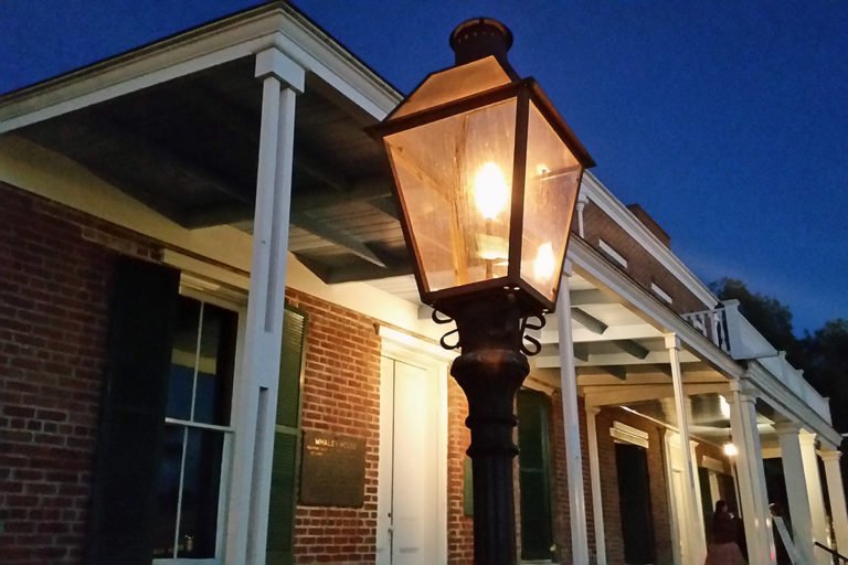 Whaley House exterior and street lamp